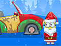 Миньон Санта ремонтирует машину