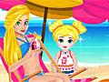 Мама и дочь на пляже