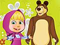 Маша и Медведь украшают сад